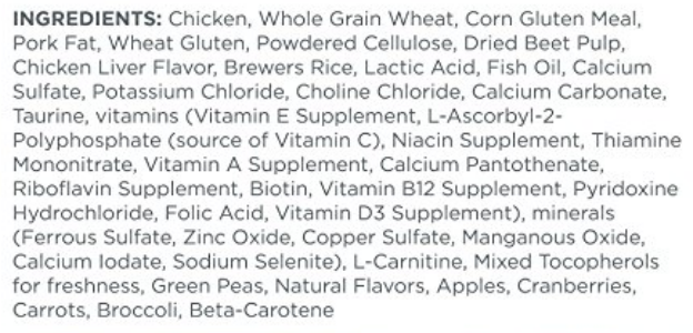 The ingredients list for one of the best cat foods for senior cats.
