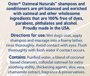 The ingredients list for another high-quality doggy shampoo for german shepherds.