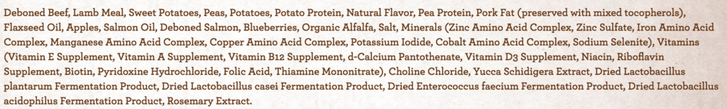 The ingredients list for the third best dog food.