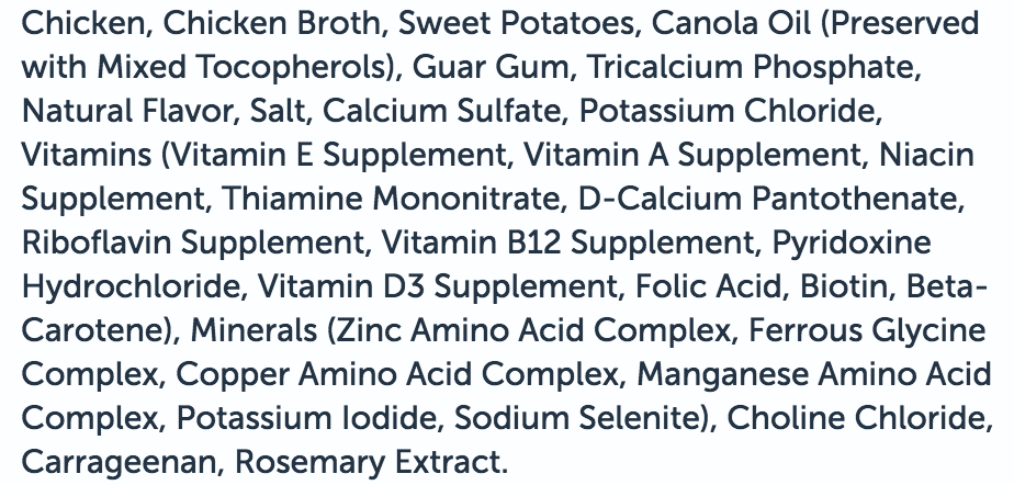 The ingredients list for the third best wet dog food on the market.