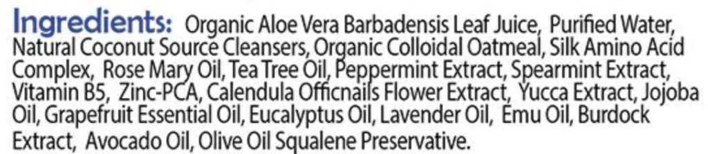 The ingredients list for treating mange or scabies with doggy shampoo.